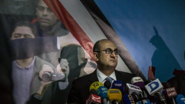 Human rights lawyer Khaled Ali announcing his candidacy in November last year. He has since suspended campaigning.