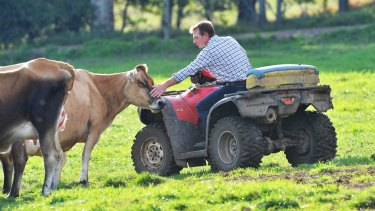 Dairy farmer Paul Mumford on his Won Wron farm.