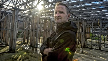 Shannon Draper at the unfinished property Simonds Homes started - and then stopped - building for him in Wallan.