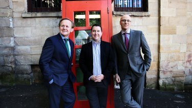 Geoff Horth, left, James Spenceley and Vaughan Bowen prepare to become the $3 billion men as part of a new telecommunications giant.