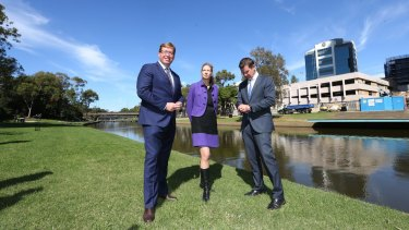 NSW Premier and Minister for Western Sydney, Mike Baird, Deputy Premier and Minister for the Arts, Troy Grant, and the newly appointed Director of the Powerhouse Museum, Dolla Merrillees, take a walk on the riverside.