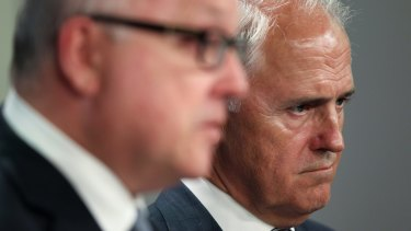 Prime Minister Malcolm Turnbull, right, and Attorney-General George Brandis.