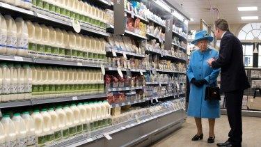 Queen Elizabeth II visits a Waitrose supermarket last year.