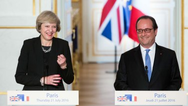 British Prime Minister Theresa May and  French President Francois Hollande at the Elysee Palace on July 21, their first meeting after she took over the government in London.