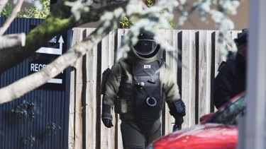 The bomb squad at the scene of a terror stand-off in Brighton earlier this month.