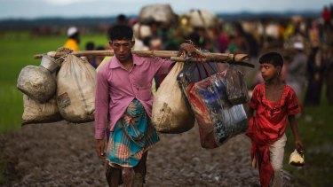 Myanmar's Rohingya ethnic minority members walk through rice fields after crossing over to Bangladesh on Friday.