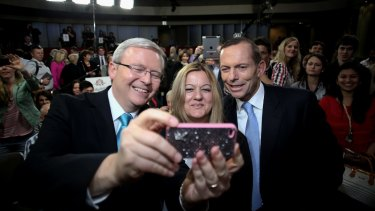 Nada Makdessi takes a selfie with then Prime Minister Kevin Rudd and Opposition Leader Tony Abbott in 2013.