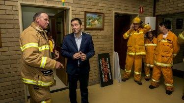 Captain Adrian Mullens meets with Opposition leader Matthew Guy in Warrandyte. Photo: Eddie Jim