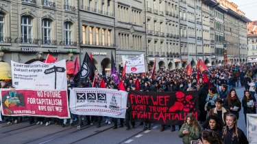 Anti-capilalism demonstrators protest against the upcoming World Economic Forum and US President Donald Trump's visit, in Bern, Switzerland, last week.