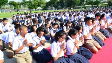 Students of the Narinukun International school in north-eastern Thailand.