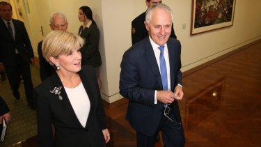 Malcom Turnbull and his deputy, Julie Bishop, following the leadership ballot at the Party Room on Monday night.