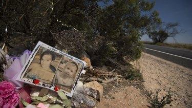 A memorial to Karlie Pearce-Stevenson and her daughter Khandalyce Pearce at the roadside, near Wynarka, South Australia.