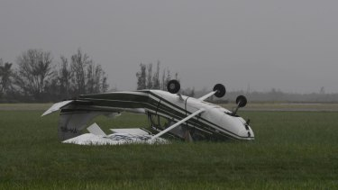 A plane was upturned at Bowen Airport.