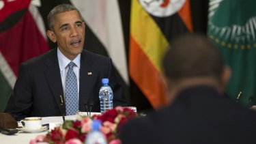 Barack Obama speaks during a multilateral meeting on South Sudan and counter-terrorism issues with Kenya, Sudan, Ethiopia, the African Union and Uganda in Addis Ababa.