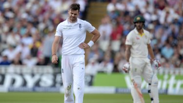 In pain ... The next test is in doubt for England's James Anderson who left the field mid-over after sustaining a side-strain injury.