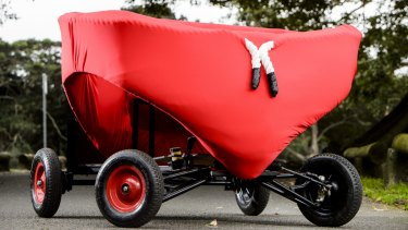 A budgie smuggler-inspired entry which will compete in the 2015 Red Bull Billy Cart event in Sydney.