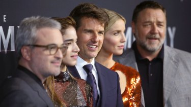 Alex Kurtman, Sofia Boutella, Tom Cruise, Annabelle Wallis and Russell Crowe at The Mummy's Sydney premiere in May.