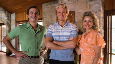 Josh Lawson as Paul Hogan (centre) with  Ryan Corr and Justine Clarke in <i>Hoges</i>.
