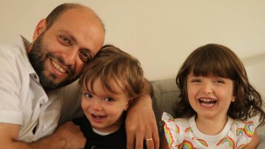 Netherlands-based Iranian filmmaker Arash Kamali Sarvestani with his two children.
