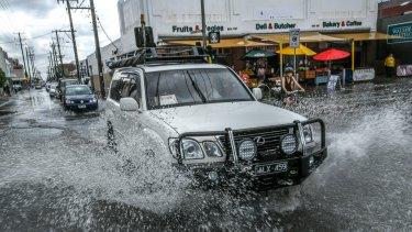 Flooding in Sydney Road, Brunswick.