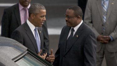 US President Barack Obama with   Ethiopian Prime Minister Hailemariam Desalegn, right, at Bole International Airport Addis Ababa.