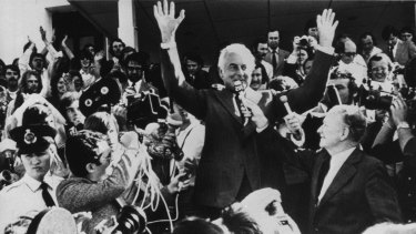 Gough Wihitlam addresses the crowd outside Parliament House in Canberra.