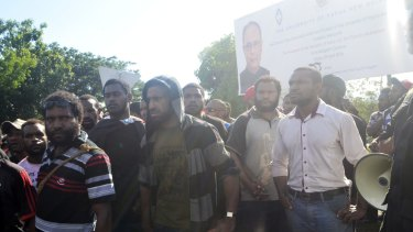 Protesters are seen during an anti-government demonstration at the University of Papua New Guinea on Wednesday.