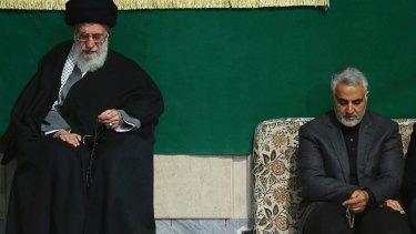 Iran's Supreme Leader Ali Khamenei, left,   with Quds Force commander General Qasem Suleimani.