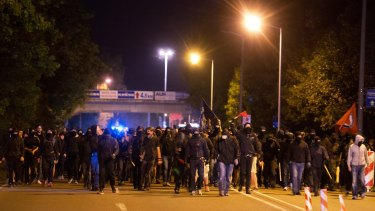 Masked demonstrators in Heidenau, south of Dresden, last week.
