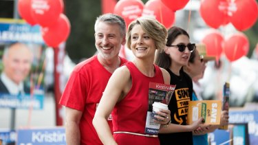 Labor candidate for Bennelong Kristina Keneally on the campaign trail on Saturday.