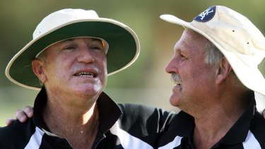 Spin twins: Greg Matthews and Ray Bright during a Masters Tour match in the Barossa Valley in 2008.