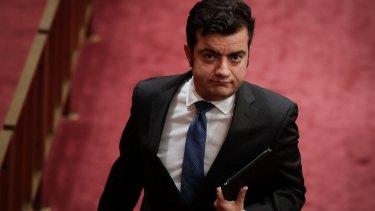 Labor senator Sam Dastyari during Question Time in the Senate on Monday.