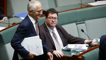 Nationals MP George Christensen, right, with Prime Minister Malcolm Turnbull.