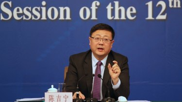 Chinese minister of environment protection, Chen Jining on Saturday at a press conference at the National People's Congress.