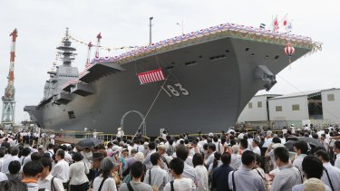 The Japanese warship Izumo will tour the South China Sea for three months.