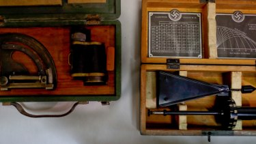 A Nazi medical device used to measure head size is among a number of items found hidden in an unnamed art collector's home in Buenos Aires, Argentina.