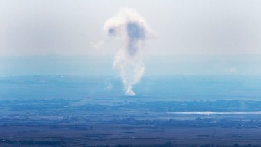 Smoke rises after an airstrike near Mosul earlier this week.