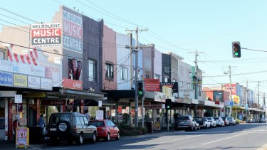 The shopping strip on North Road in Ormond, around the corner from the new station.