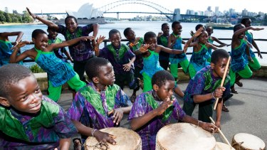 The African Children's Choir enjoying the view in Sydney.