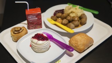 The IKEA signature lunch of meatballs, mash and lingonberry sauce.