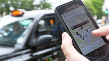 A user scans for an available vehicle using Uber.