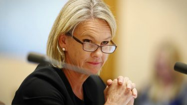 Senator Fiona Nash during a Senate estimates hearing at Parliament House in Canberra on Monday 29 May 2017. fedpol Photo: Alex Ellinghausen