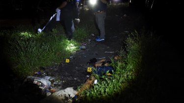 The body of an alleged drug dealer in Manila, Philippines.