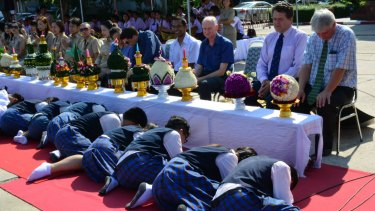 Students pay respect to teachers during a ritual  on June 26 2015.  Peter Dundas Walbran is third from right in the blue short-sleeved shirt.