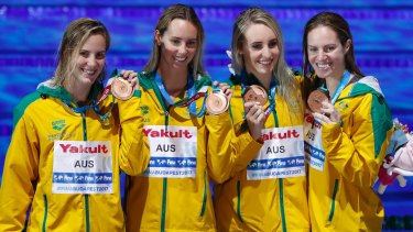 From left: Australia's Bronte Campbell, Emma McKeon, Taylor McKeown and Emily Seebohm show off their bronze medals for the women's 4x100m medley relay.