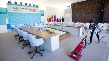 Maria Mendoza attends to last minute preparations at Sunnylands in Rancho Mirage, California, for the ASEAN meeting.