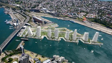 An artist's impression of a plan to build eight, 20-storey towers at White Bay in Sydney.