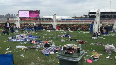 The aftermath of Tuesday's festivities at Flemington.