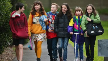 Devlin Walker and his buddies walking to school in Abbotsford, on July 14, 2014 in Melbourne.