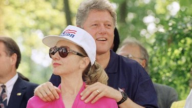 """Bill Clinton stands with his wife Hillary during the 1992 campaign. The Clintons had a plan for the """"Bimbo"""" explosion."""